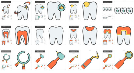 Stomatology line icon set.