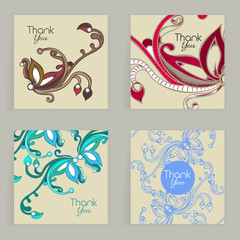 Four cards. Hand drawn creative flower. Colorful artistic background with blossom. Abstract herb. It can be used for invitation, thank you message, postcard. Vector illustration, eps10