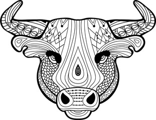 The head of a Buffalo with tribal patterns. Monochrome illustration on white background.