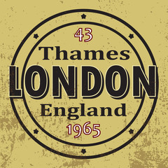 Thames, England, London typography, shirt graphics, vectors