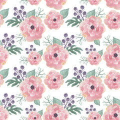 Colorful floral seamless pattern with leaves and england rose flowers, drawing watercolor. Design for invitation, wedding or greeting cards