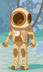 Diving suit man underwater