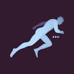3d Running Man. Design for Sport, Business, Science.