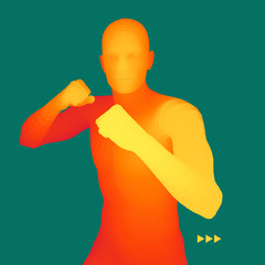 Boxer. 3D Model of Man. Human Body. Sport Symbol. Design Element.