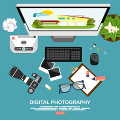 Photography equipment with photo camera on a table.Vector illustration in a flat style.