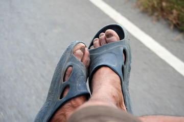 Old Man's Foot Rural dirty looks from hard work.