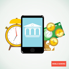 Mobile banking concept icon. Bank in smartphone with money. Flat vector illustration