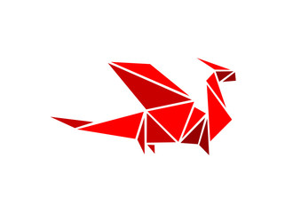 Flying dragon in origami form. Vector for logo and icon.
