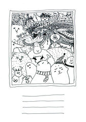 Postcard black and white doodle card with fabulous creatures