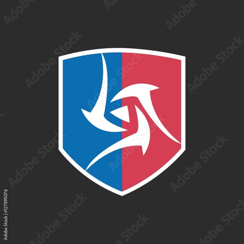"""Tribal Triangle Logo with Blue and Red Shield"" Imagens e ..."