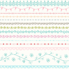 Winter hand drawn seamless borders collection