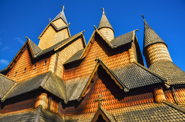 Famous wooden steve church in Heddal, Norway. Original wallpaper of the building, which is part of unesco