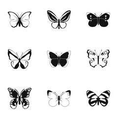 Butterfly icons set. Simple illustration of 9 butterfly vector icons for web