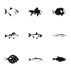 Tropical fish icons set. Simple illustration of 9 tropical fish vector icons for web