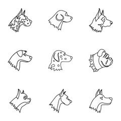 Faithful friend dog icons set. Outline illustration of 9 faithful friend dog vector icons for web