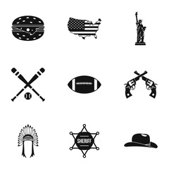 Tourism in USA icons set. Simple illustration of 9 tourism in USA vector icons for web