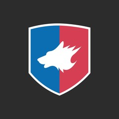 Wolf Logo with Blue and Red Shield