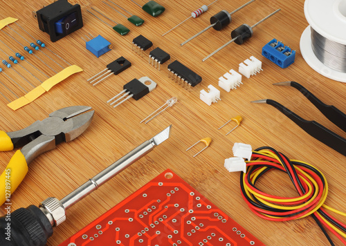 Electronic Assembly Tools : Quot electronic сomponents circuit board and hand tools for