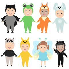 Children in costumes of animals. Carnival costumes, hare, fox, butterflies, cats, pandas, frogs. Vector cartoon set