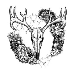 stylized Deer Skull and flowers hand drawn original illustration. design for clothing print, postcards, cards, cover, tattoo design bohemian boho outline style. isolated on white background