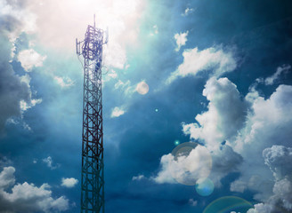 telecommunications tower with blue sky and clouds sky,Raincloud