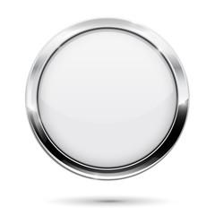 White button. Round web icon with metal frame