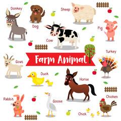 Farm Animal cartoon on white background with animal name. Goat. Chicken. Chick. Goose. Donkey. Sheep. Horse. Duck. Rabbit. Pig. Dog. Cow. Turkey. Vector illustration.