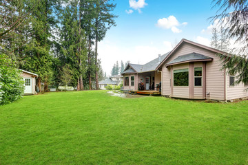 Backyard view of luxury home