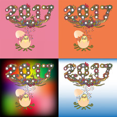 doodle style of happy new year 2017 greetings card and background with a chick, hand drawn vector illustration of holiday pattern postcard