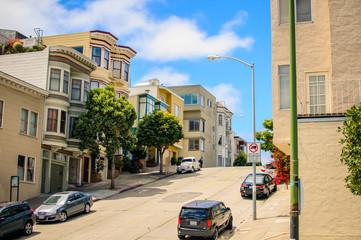 Sun shines over San Francisco's street