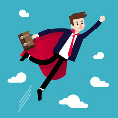 Isolated flat vector illustration of successful businessman flying up like superman. Concept business vector illustration
