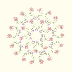 Floral round mandala ornament