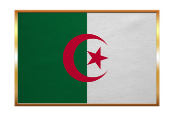 Flag of Algeria , golden frame, fabric texture