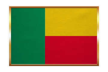 Flag of Benin , golden frame, fabric texture