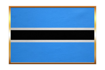 Flag of Botswana , golden frame, fabric texture