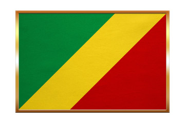 Flag of the Congo Republic, golden frame, textured
