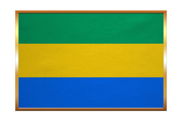 Flag of Gabon , golden frame, fabric texture