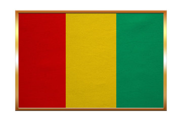 Flag of Guinea , golden frame, fabric texture