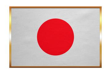 Flag of Japan , golden frame, fabric texture