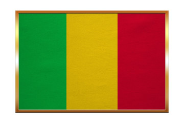 Flag of Mali , golden frame, fabric texture