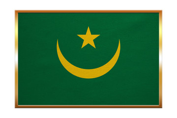 Flag of Mauritania , golden frame, fabric texture