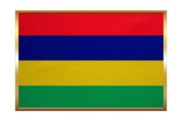 Flag of Mauritius , golden frame, fabric texture