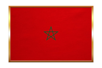Flag of Morocco , golden frame, fabric texture