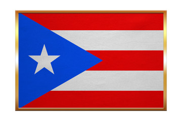Flag of Puerto Rico , golden frame, fabric texture