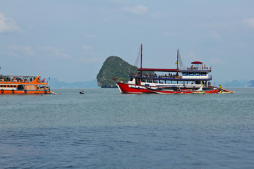 landscape view of the amazing sea island / A landscape view of the amazing sea island and tourist ship in Thailand Phuket