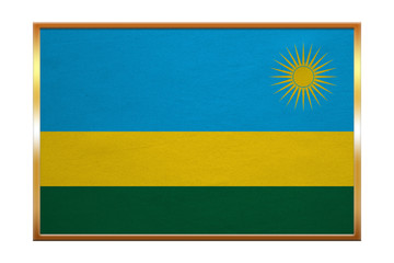Flag of Rwanda , golden frame, fabric texture