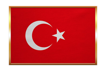 Flag of Turkey , golden frame, fabric texture