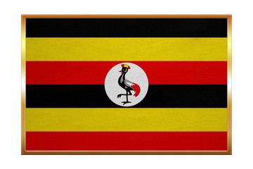 Flag of Uganda , golden frame, fabric texture