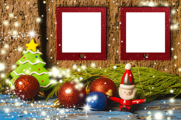 Cute Christmas two empty photo frames card