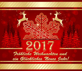 Grußkarte für die Feier des neuen Jahres: Frohe Weihnachten und ein Glückliches Neues Jahr Grußkarte.